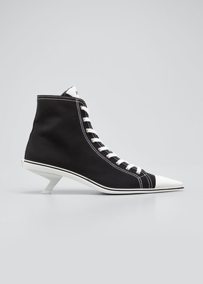 Prada Point-Toe Canvas Sneaker Booties