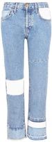 Current/Elliott 'The DIY Original Straight' repair patch cropped jeans