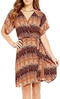 Miss Me Women's Casual Dresses RUST - Rust & Brown Wrap Dress - Women