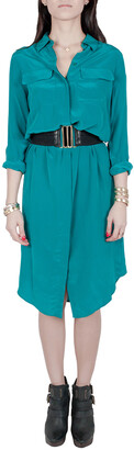Equipment Femme Everglade Blue Silk Charmeuse Tegan Shirt Dress XS