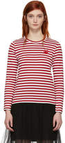 Comme des Garcons Red and White Long Sleeve Striped Heart T-Shirt