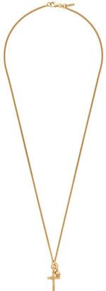 Emanuele Bicocchi Gold Skull and Cross Pendant Necklace