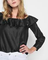 7 For All Mankind Long Sleeve Ruffled Off Shoulder Top in Black