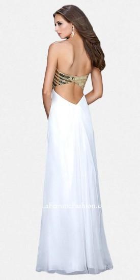 La Femme Strapless Gold Plated Bodice Prom Dresses