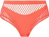 Agent Provocateur Shannon Stretch-fishnet Bikini Briefs - Coral