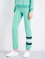 Sundry Contrast-panel mid-rise cotton-blend jogging bottoms