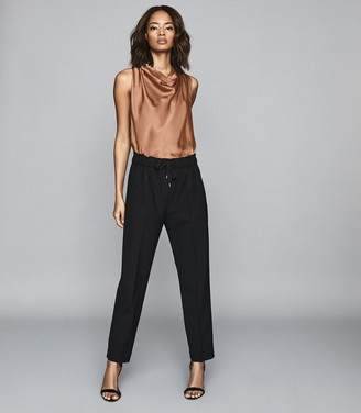 Reiss Lita - Bow Detail Satin Top in Rust