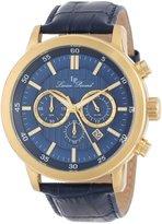 Lucien Piccard Men's 12011-YG-03 Monte Viso Chronograph Dark Textured Dial Dark Leather Watch
