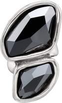 Uno de 50 Flash Black Bezel Set Dual Swarovski Crystal Element Ring