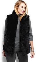 Lands' End Women's Plus Size Furry Textured Vest-Black