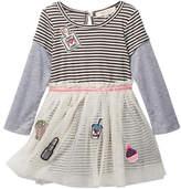 Baby Sara Patch Detail Mesh Overlay Striped Dress (Toddler & Little Girls)