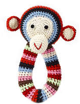 Anne Claire Crochet Chimp Ring Rattle - Multi