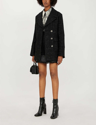 Pinko Scendere notch-lapel boucle coat