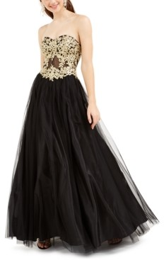 Blondie Nites Juniors' Embroidered Corset Gown