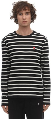 Ami Alexandre Mattiussi LOGO PATCH STRIPED COTTON JERSEY T-SHIRT