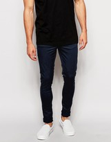 Asos Extreme Super Skinny Trousers In Navy