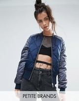 Noisy May Petite Contrast Sleeve Quilted Bomber Jacket