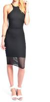Donna Mizani Black Racer Front Diamond Midi Dress