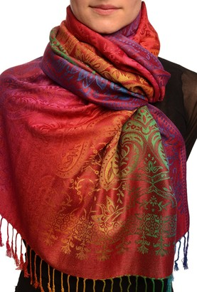 Lisskiss Mirrored Ombre Paisleys On Burgundy Pashmina Feel With Tassels - Red Pashmina Floral Scarf