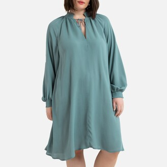 La Redoute Collections Plus Flared Mid-Length Dress with High Neck and Wide Sleeves