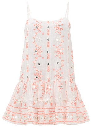 Juliet Dunn Mirror-embroidered Cotton Mini Dress - Red White