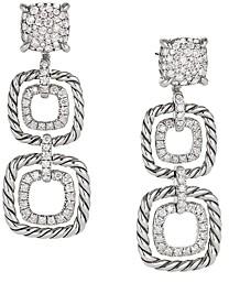 David Yurman Chatelaine Full Pave Diamond Triple Drop Earrings