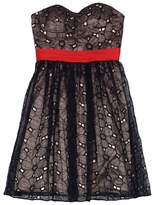 Phoebe Couture Black, Red & Tan Eyelet Overlay Dress