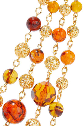 Ben-Amun 24-karat Gold-plated, Bead And Stone Necklace