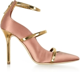 Malone Souliers Robyn Blush Satin and Golden Mirror Nappa Leather Pumps