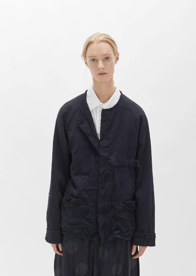 Yohji Yamamoto Flannel Collarless Jacket Navy