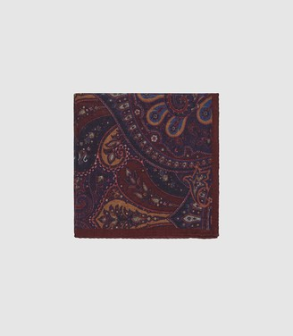 Reiss Jonathan - Wool Paisley Pocket Square in Bordeaux