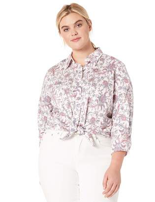 Chaps Women's Plus Size 3/4 Sleeve Non Iron Cotton Sateen Shirt