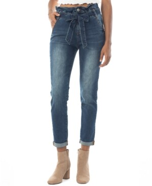Thumbnail for your product : Almost Famous Crave Fame Juniors' Cuffed Paperbag-Waist Jeans