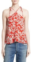 Rebecca Taylor Women's Cherry Blossom Silk Tie Shoulder Tank