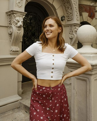 The Drop Women's White Snug Square Neck Button Down Cap Sleeve Crop Top by @charlottebridgeman XS
