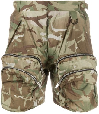 Represent Camouflage Multi-Pocket Cargo Shorts