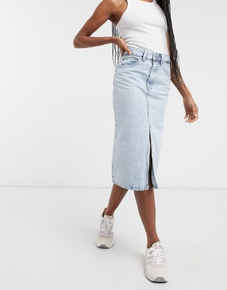 WÅVEN midi skirt with front slit in vintage light blue