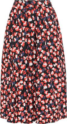 Être Cécile Amelie Pleated Leopard-print Silk Midi Skirt
