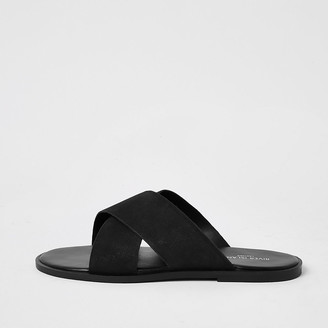 River Island Black leather cross over sandals