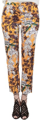 MSGM Orange Floral Print Sateen Relaxed Fit Tapered Trousers S