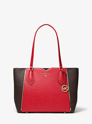 MICHAEL Michael Kors MK Mae Medium Pebbled Leather and Logo Tote Bag - Bright Red - Michael Kors