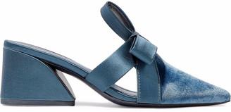 Mercedes Castillo Satin-trimmed Velvet Mules