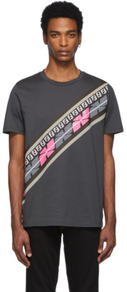 Fendi Grey and Pink Forever Intarsia Print T-Shirt