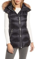 Andrew Marc Women's Claire 28 Water Resistant Hooded Down Vest With Genuine Fox Fur Trim