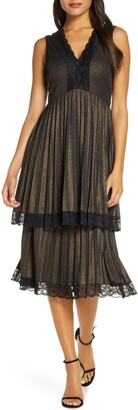 Taylor Foil Jersey Double Tiered Dress