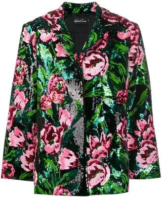 Richard Quinn Sequin Rose Single-Breasted Jacket