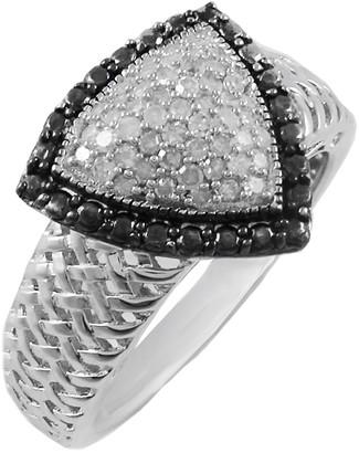 Savvy Cie Sterling Silver Black Rim Diamond Ring - 0.25 ctw