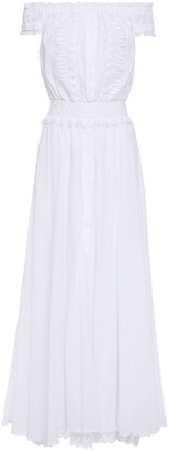 Charo Ruiz Ibiza Off-the-shoulder Crocheted Lace-paneled Cotton-blend Voile Maxi Dress