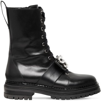 Sergio Rossi 40mm Embellished Leather Combat Boots