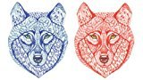 Set of 2 Waterproof Temporary Fake Tattoo Stickers Blue Red Bear Scary Unique Design